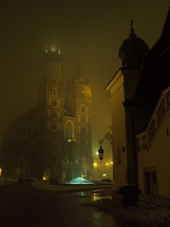 Krakow's central market and St. Mary's Cathedral. Photo by Alan Lockwood.