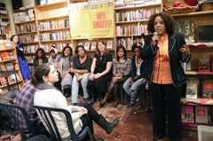 <em>Hey Shorty! </em>co-author and GGE founder Joanne Smith speaking at Bluestockings Bookstore on April 13, 2011. Photo by Nick Childers.