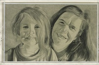 Portrait of the author and her son. Pencil on paper by Phong Bui.