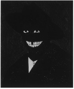 "Kerry James Marshall, ""The Portrait of the Artist as his Former Self,"" 1980. Egg tempera on paper.  Courtesy of Jack Shainman Gallery."