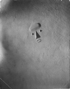 """Isamu Noguchi, """"Sculpture to be Seen from Mars,"""" 1947. Model in sand (destroyed). Photo by Soichi Sunami, Courtesy of The Noguchi Museum, NY."""