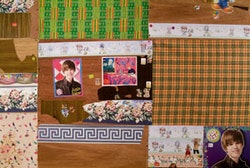 """Detail: Holly Jarrett, """"Pigs Palace,"""" 2011, wood, fabric, panel, and mixed media, 95˝ × 70˝ × 100˝."""