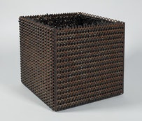 """Eva Hesse. """"Accession V,"""" 1968. Galvanized steel and rubber, 10 × 10 × 10˝. Courtesy of Craig F. Starr Gallery, NY."""
