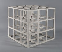Sol LeWitt. 3 × 3 × 3, 1965. Painted wood, 141⁄2 × 141⁄2 × 141⁄2˝. Signed and dated underneath: 'Sol LeWitt 1965'. Courtesy of Craig F. Starr Gallery, NY.
