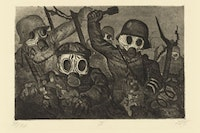 "Otto Dix, ""Shock Troops Advance under Gas (Sturmtruppe geht unter Gas vor)"" from the portfolio The War (Der Krieg), (1924). Etching, aquatint, and drypoint. Plate: 75/8 × 115/16˝; sheet: 1311/16 × 185/8˝. Publisher: Karl Nierendorf, Berlin. Printer: Otto Felsing, Berlin. Edition: 70. The Museum of Modern Art, New York, Gift of Abby Aldrich Rockefeller, 1934. © Otto Dix / 2010 Artists Rights Society (ARS), New York / VG Bild-Kunst, Bonn."