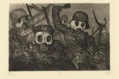 "Otto Dix, ""Shock Troops Advance under Gas (Sturmtruppe geht unter Gas vor)"" from the portfolio The War (Der Krieg), (1924). Etching, aquatint, and drypoint. Plate: 75/8 × 115/16˝; sheet: 1311/16 × 185/8˝. Publisher: Karl Nierendorf, Berlin. Printer: Otto Felsing, Berlin. Edition: 70. The Museum of Modern Art, New York, Gift of Abby Aldrich Rockefeller, 1934. © Otto Dix / 2010 Artists Rights Society (ARS), New York / VG Bild-Kunst, Bonn."