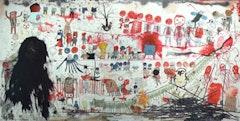 "Neil Farber, ""Halloween"" 2010-2011. 60 × 120˝. Mixed media on panels."