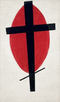 """Mystic Suprematism,"" 1920–27. Oil on canvas. 393/8 × 235/8˝. Collection of the Heirs of Kazimir Malevich. Courtesy Gagosian Gallery."