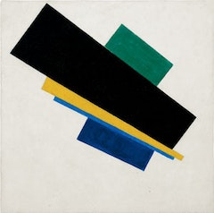 """Suprematism,"" 18th Construction, 1915. Oil on canvas. 207/8 × 207/8˝. Collection of the Heirs of Kazimir Malevich. Courtesy Gagosian Gallery."