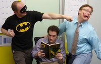 Batz. Pictured: Josh Mertz, Harrison Unger, Ed Lane. Photo Credit: Erik Bowie. All rights reserved by bricktheater.