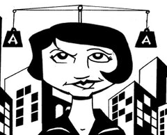 Ayn Rand from Action Philosophers!. Artwork by Ryan Dunlavey.