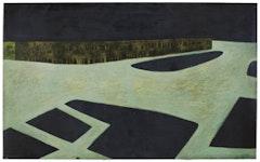 """Conrad Marca-Relli (1913-2000). """"Cityscape,"""" 1953. Oil on canvas. 511/2 × 85 ½˝."""