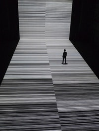 "Installation view of Ryoji Ikeda's ""test pattern [nº 3],"" a version of which is on view at the Park Avenue Armory as part of his digital and sonic installation the ""transfinite."" Image courtesy Théâtre de Gennevilliers."