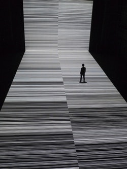 """Installation view of Ryoji Ikeda's """"test pattern [nº 3],"""" a version of which is on view at the Park Avenue Armory as part of his digital and sonic installation the """"transfinite."""" Image courtesy Théâtre de Gennevilliers."""