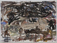"""David Deutsch, """"Nothing Real,"""" 2011. Acrylic on linen. 36˝ × 48˝. Image Bill Orcutt. Southfirst, Brooklyn NY."""