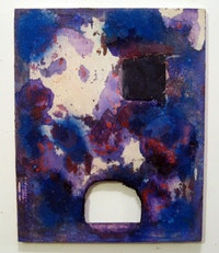 "Martin Bromirski, ""Untitled"" (2011).  Acrylic, sand, paper on canvas. 20 × 16˝."