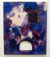 "Martin Bromirski, ""Untitled"" (2011).  Acrylic, sand, paper on canvas. 20 × 16˝."