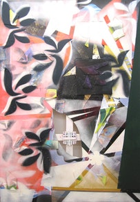 """Patrick Brennan, """"Flow and Fade"""" (2011). Mixed media on canvas. 72 × 48˝."""