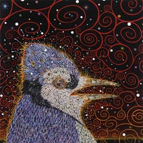 """Fred Tomaselli. """"The Dust Blows Forward,"""" The Dust Blows Back, 2011. Photo collage, acrylic, resin on board. 24 x 24"""". Courtesy of James Cohan Gallery, New York/Shanghai. Photo: Erma Estwick."""