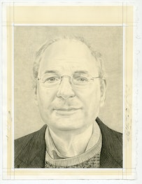 <i>Portrait of Charles Bernstein. Pencil on paper by Phong Bui.</i>