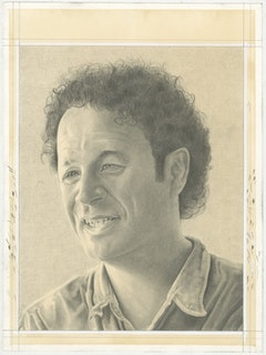 Portrait of Paul Ramirez Jonas. Pencil on paper by Phong Bui.