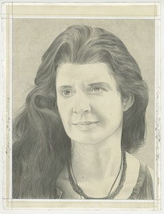 Portrait of Janine Antoni. Pencil on paper by Phong Bui.