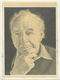 Portrait of Peter Selz. Pencil on paper by Phong Bui.