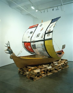 "Matthew Day Jackson, ""Sepulcher,"" 2004. Wood, vinyl, fabric. 120 x 96 x 204"". Courtesy the artist and the Whitney Museum of American Art."