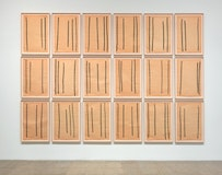 """""""Drawings after Circuit,"""" 1972. Paintstick on paper. 24 sheets, each 36×231/2˝. Collection of the artist. Photo: Rob McKeever."""