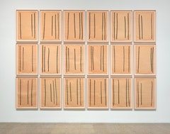 """Drawings after Circuit,"" 1972. Paintstick on paper. 24 sheets, each 36 × 231/2˝. Collection of the artist. Photo: Rob McKeever."