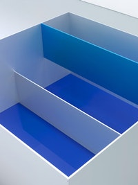 "DONALD JUDD, ""Untitled˝ (Menziken 89-6) [detail] 1989. Anodized aluminum clear and blue with blue Plexiglas. 39 3/8 × 78 3/4 × 78 3/4 inches. 100 × 200 × 200 cm. Judd Art © Judd Foundation. Licensed by VAGA, New York, NY.  Photos by Tim Nighswander / IMAGING4ART; courtesy of David Zwirner, New York."