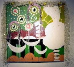 "Tamara Gonzalez ""Elfen,"" 2008. Oil and mixed media on canvas, 39×39˝."