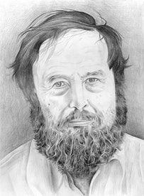 Portrait of Harald Szeemann. Pencil and Paper by Phong Bui.