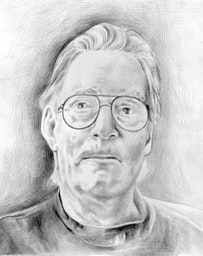 Portrait of Walter Hopps. Pencil and Paper by Phong Bui.