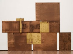 """Scalar,"" 1971. Chipboard, crude oil, paper and nails. 80 x 1141/2 x 31/2 overall. The Museum of Modern Art, New York. Gift of Jo Carole and Ronald S. Lauder and Estée Lauder, Inc., in honor of J. Frederic Byers III, 1992. © 2011 Dorothea Rockburne/Artists Rights Society (ARS), New York."