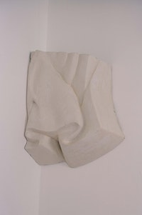 "Harry Roseman, ""Curtain Wall Fragment"" (1999–2001). Styrofoam, wall compound, acrylic paint. 26"