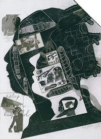 "Ray Johnson, ""Green Hornet with Arman and Andy"" (1976-1986). Collage on illustration board. 15"