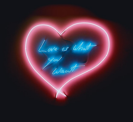 "Tracey Emin, ""Love is What You Want,"" 2011. Neon (coral pink heart, blue text) 103 x 114 cm. Copyright the artist. Courtesy Tracey Emin."
