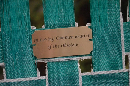 """Detail, """"In Loving Commemoration of the Obsolete,"""" - Flushing, Jewell Avenue, between 147th and 150th Streets. Image courtesy of Krystina and Marek Milde."""