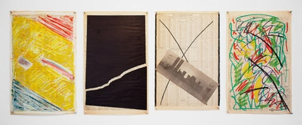 "Joachim ""YoYo"" Friedrich, ""Newspaper pieces,"" 1977-1979. Medium varies. 23 × 143/4˝ (varies). Photo by Brandon Mitchell."