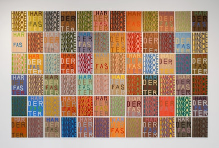 """Joshua Abelow, """"Mystic Truths,"""" 2007. Oil on Linen. 72 paintings, 16 × 12˝ each. Photo by Brandon Mitchell."""