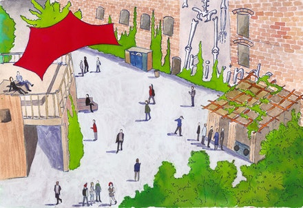 Street scene from Berlin's third annual Down by the River festival; illustration: Megan Piontkowski.