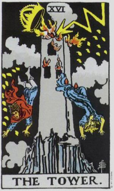 The Tower. Rider Waite Smith tarot deck. Courtesy of US Games.