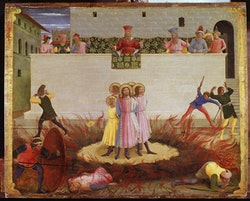 "Fra Angelico, ""San Marco Altarpiece: Cosmas and Damian are to be Burnt Alive,"" 1439 – 1442. National Gallery of Ireland, Dublin, Ireland. Tempera on panel, 46 x 36 cm."