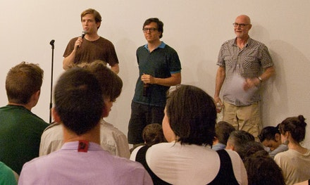 Light Industry co-founders Thomas Beard (left) and Ed Halter introduce scholar Douglas Crimp at an event in August 2010. Photo by Marten Elder.