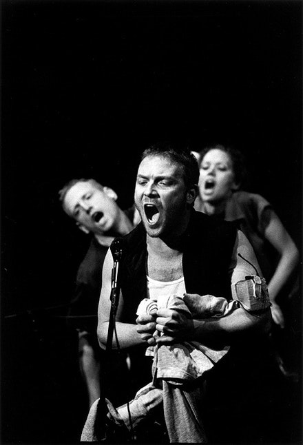 Scott Shepherd, Ari Fliakos, and Kate Valk in <i>Poor Theater</i>. Copyright Paula Court