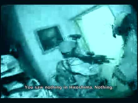 Video still, <i>After Hiroshima Mon Amour</i>, 2005-2008. Video and 16mm film; 22 mins.
