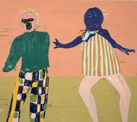 """Nicola Tyson, """"Two Figures Touching,"""" 2011. Oil on canvas. 72 x 81"""". Courtesy of Friedrich Petzel Gallery, New York.  Photo: Lamay Photo."""
