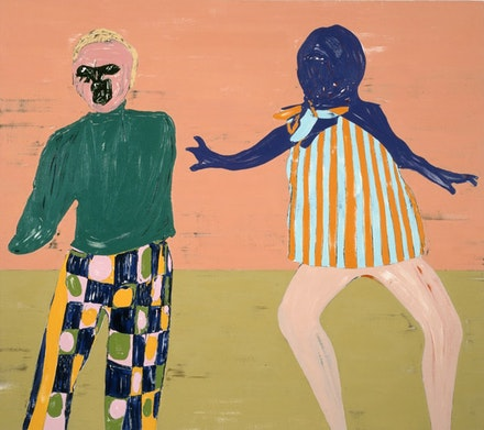 "Nicola Tyson, ""Two Figures Touching,"" 2011. Oil on canvas. 72 x 81"". Courtesy of Friedrich Petzel Gallery, New York.  Photo: Lamay Photo."