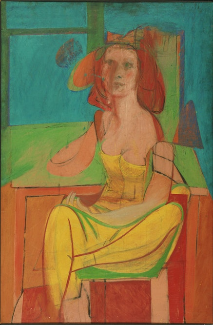 "Willem de Kooning, ""Seated Woman,"" c. 1940. Oil and charcoal on masonite. 54 x 36"". Philadelphia Museum of Art. The Albert M. Greenfield and Elizabeth M. Greenfield Collection. © 2011 The Willem de Kooning Foundation / Artists Rights Society (ARS), New York."